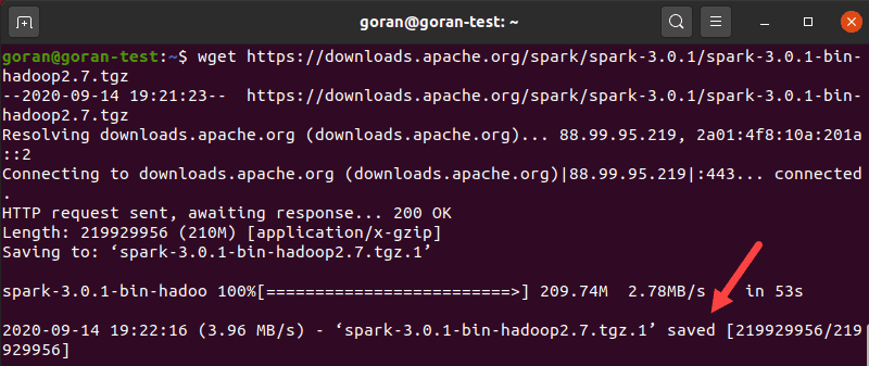 Output when saving Spark to your Ubuntu machine.