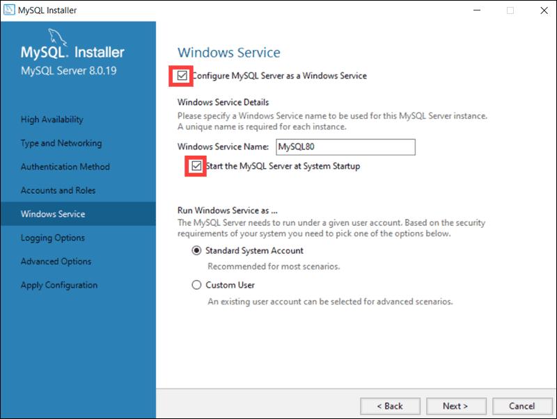 How to define MySQL as a Windows Service.