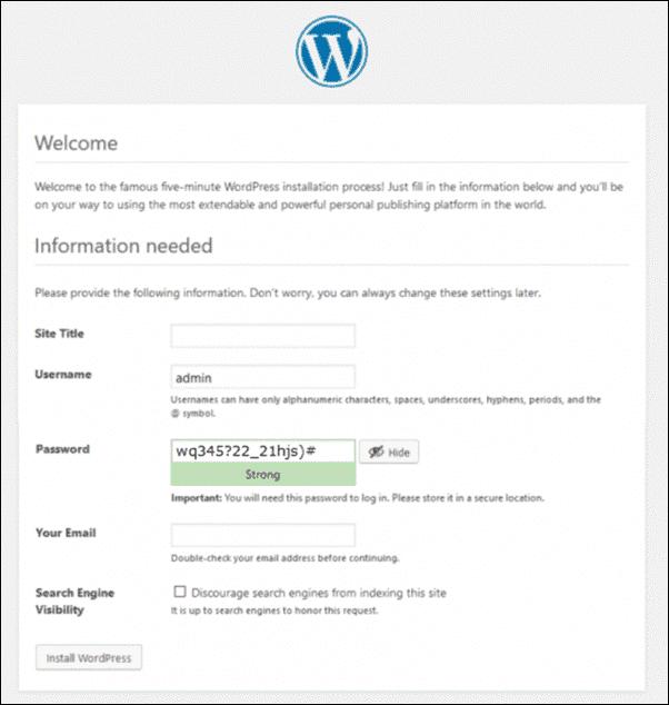 wordpress installation process