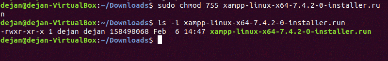 The command to make the XAMPP installation package executable.