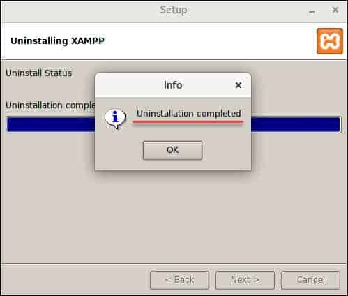 uninstallation completed pop up box