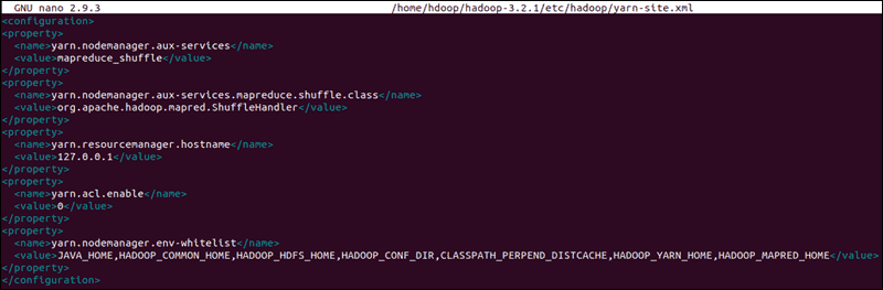 The single node Hadoop Yarn configuration file.
