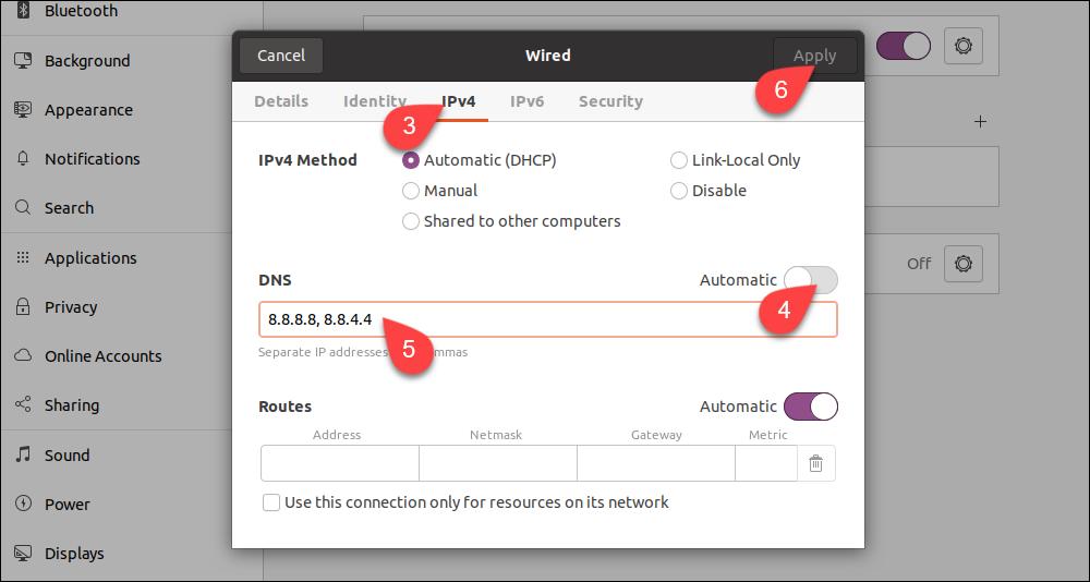 Configuring and applying new DNS settings in Ubuntu