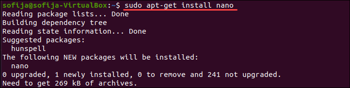 Install package on Linux using the apt-get command.