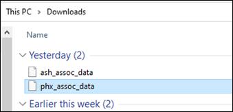 XML file name in the Downloads folder