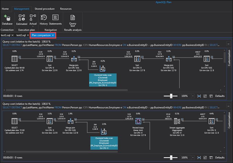 APEXSQL Plan query execution plan comparison.
