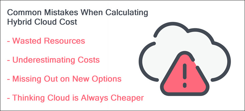 Common mistakes in calculating hybrid cloud cost.