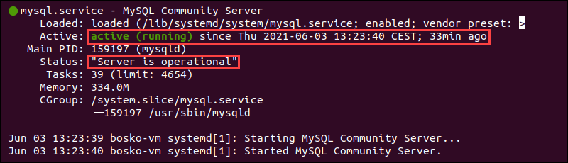 How to check if MySQL service is running in Ubuntu.
