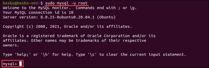 Login to MySQL Shell in the Ubuntu terminal.
