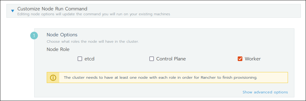 Customizing the node run command in the Add Cluster section in Rancher