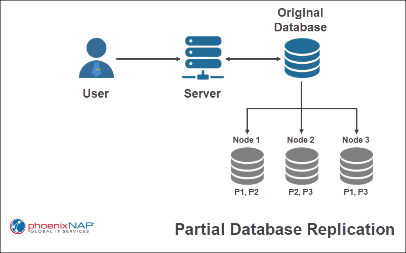 An example diagram of partial database replication