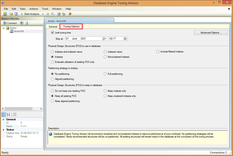 Tuning options in the Database Tuning Advisor, a query optimization tool for SQL Server Studio.