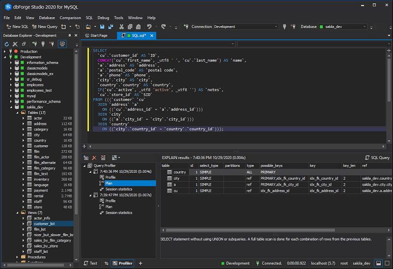 DbForge Studio Query Profiler for analyzing and optimizing SQL queries.