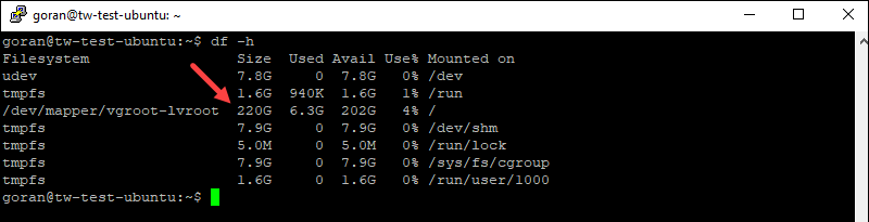 Df command in Linux to check available SSD space.