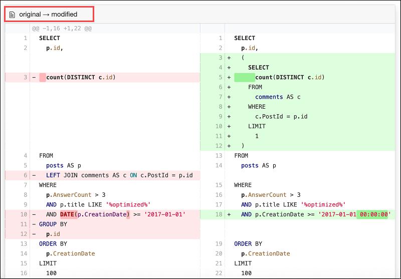 The query code comparison feature of EverSQL.