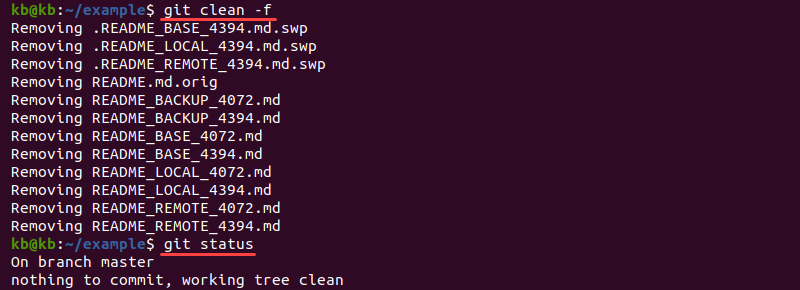 Output of git clean -f after resolving a merge conflict
