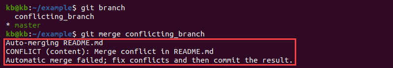 Output of git merge with conflict error
