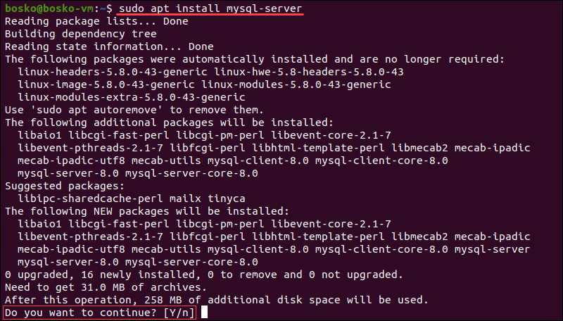 Install MySQL server on Ubuntu.