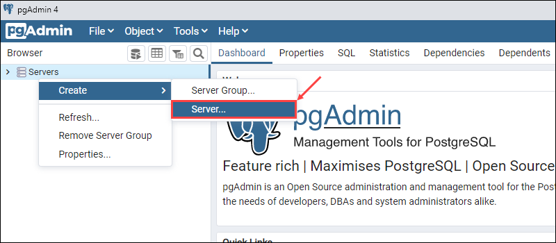Create a new database server in pgAdmin