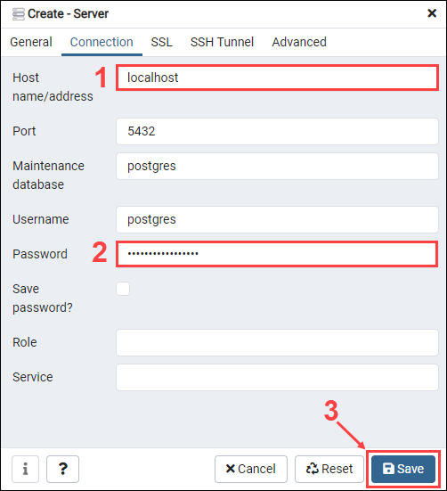 Set the hostname and password and save changes to create a new database server
