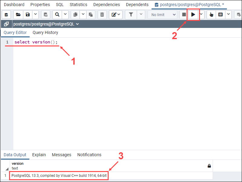 Verify the new PostgreSQL database in the query editor.