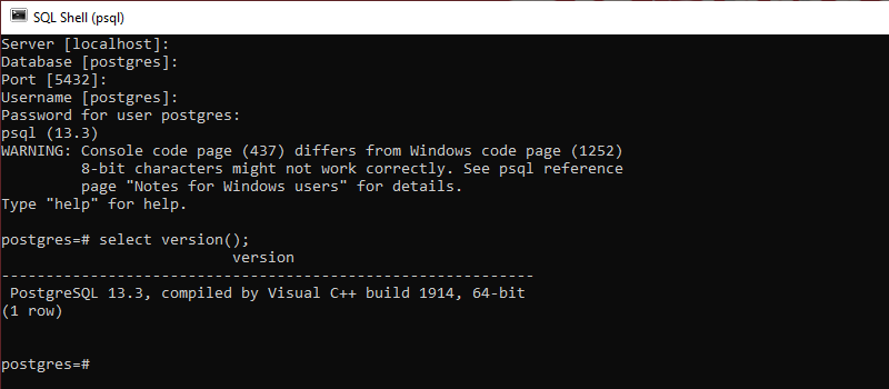 Check the database version to verify the installation