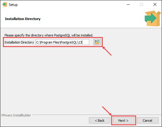 Choose the PostgreSQL install location