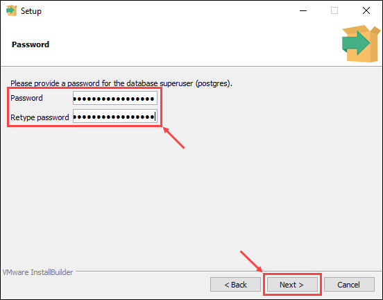 Set a password for the database superuser
