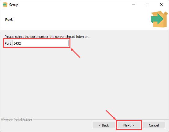 Set the PostgreSQL server port number