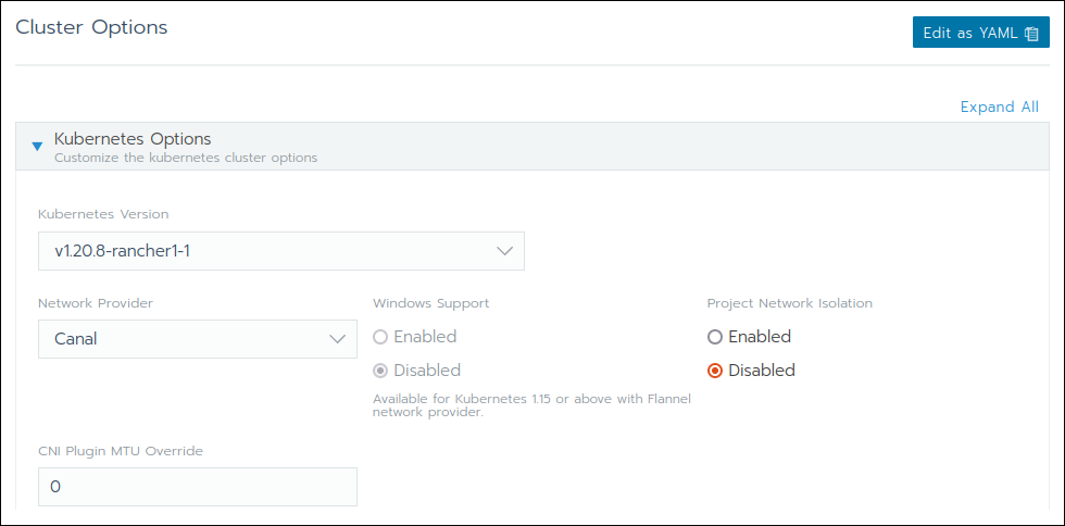 Managing Kubernetes options in the Cluster Options section of the Add Cluster dialogue in Rancher
