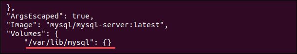 List details of MySQL Docker container and data storage location.