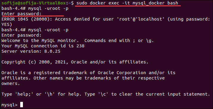 A command for connecting to a MySQL Docker container.