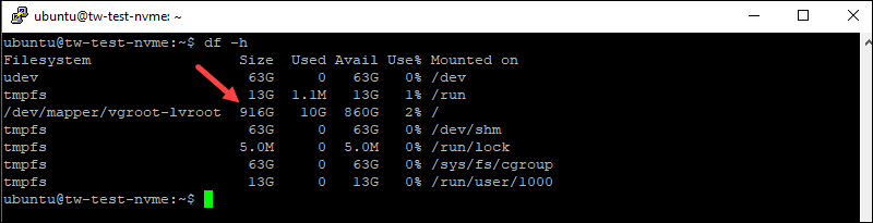 Df command in Linux to check available NVMe drive space.