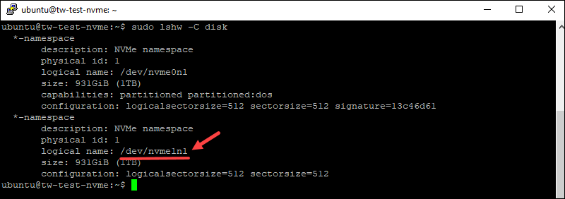 Checking NVMe drive path using the lshw command