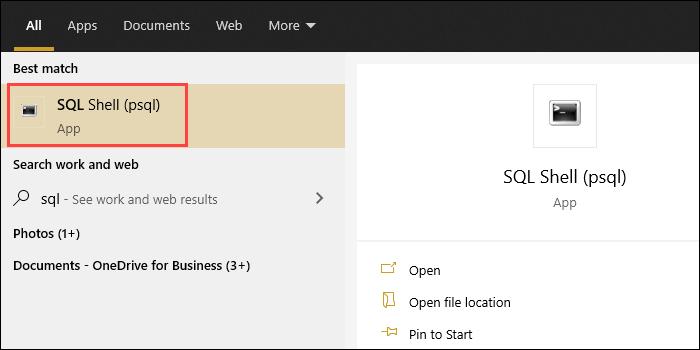 Open the SQL Shell (psql) app.