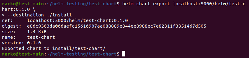 Exporting the Helm chart to a directory on a local file system using the helm chart export command and the --destination flag.