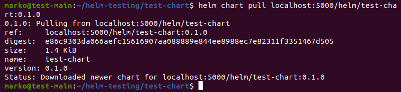 Pulling a Helm chart from the registry using the helm chart pull command.