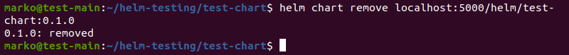 Removing the local version of the Helm chart after pushing it to the registry.