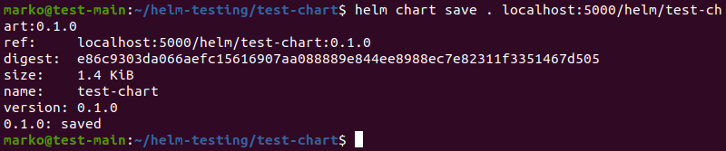 Saving a chart alias containing the registry URI using the helm chart save command.