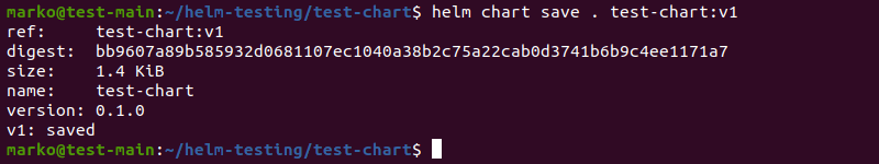 Saving a Helm chart locally using the helm chart save command.