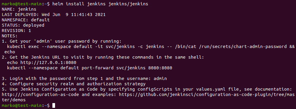 Deploying a Kubernetes app using the helm install command.