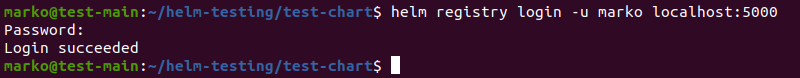 Logging into the container registry using the helm registry login command.