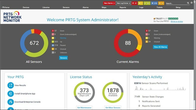A dashboard for performance overview in Paessler PRTG Network Monitor.