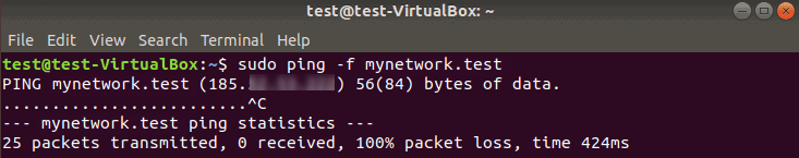 Testing network performance with ping flood.
