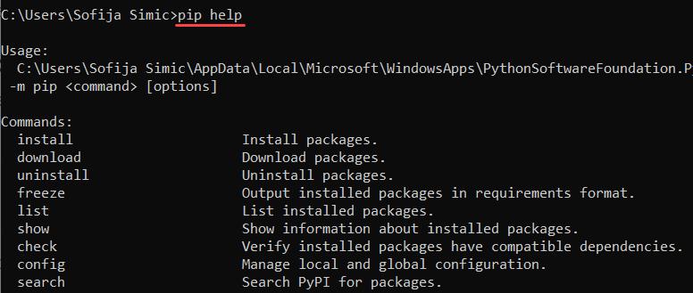 Run pip help command to verify installation.