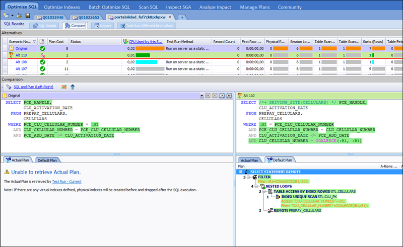 Optimizing a query in Toad for Oracle.