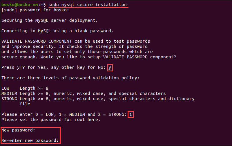 Secure MySQL server by setting up an authentication password.
