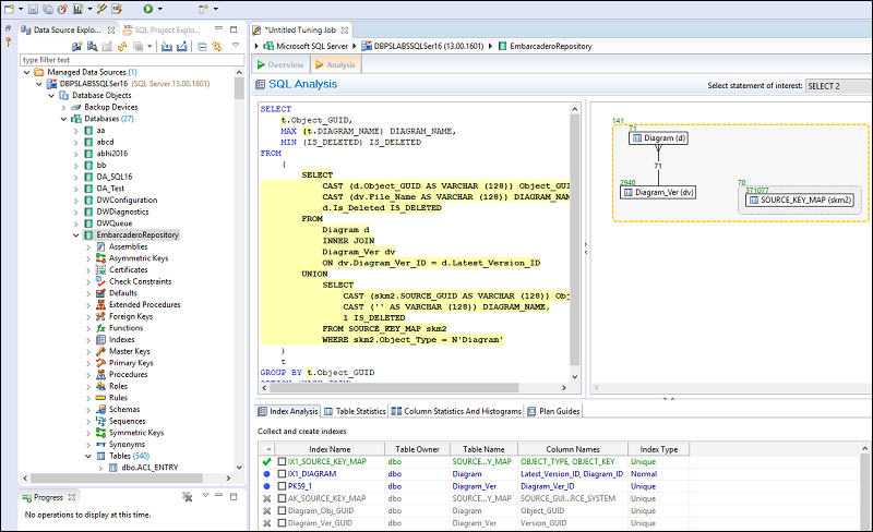 Query analysis and tuning in SQL Query Tuner for SQL Diagnostic Manager.