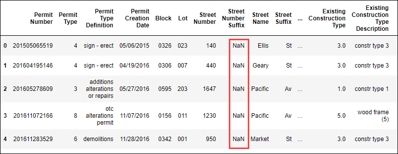 A Python DataFrame table with NaN values