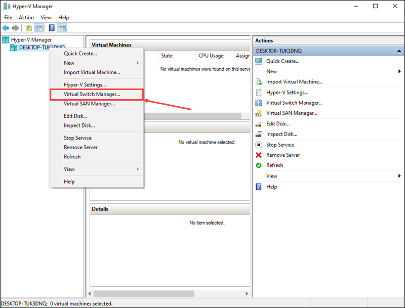 Open the Virtual Switch Manager to create a new virtual switch